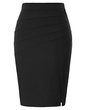 a20d1c9af8 Kate Kasin Women's Solid Color Split Stretchy Hips-Wrapped Bodycon Pencil  Skirt