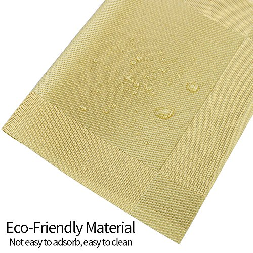 Orangehome Set of 6 Placemats,Placemats for Dining Table,Heat-resistant Placemats, Stain Resistant Washable PVC Table Mats,Kitchen Table mats(Gold) by Orangehome (Image #4)