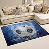 XiangHeFu Area Rugs Doormats Soccer Ball With Water Drops 5'x3'3 (60x39 Inches) Non-Slip Floor Mat Soft Carpet for Living Dining Bedroom Home