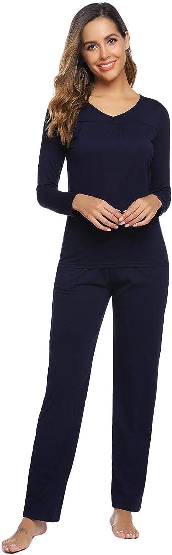 Abollria Pijamas Mujer Algodon Ropa de Domir Elegante Manga Pantalon Largos: Amazon.es: Ropa y accesorios