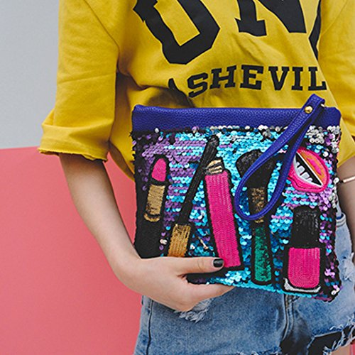 Bag Purse Clutch Shoulder Ofila Zipper Cross Blue Dazzling Bag Handbag Body Sequins Women's qvv0wX1g