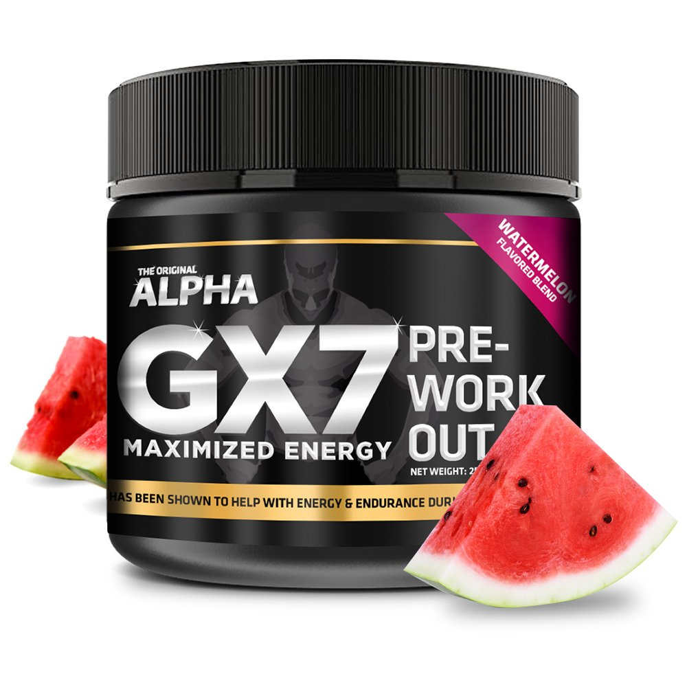 Alpha Gx7 Pre Workout Powder - Energy Drink for Workouts 258g - 30 Servings Watermelon Flavor
