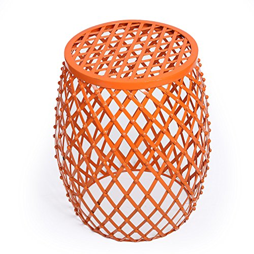 Adeco Home Garden Accents Wire Round Iron Metal Stool Side End Table Plant Stand Chair, Hatched Diamond Pattern, for Indoor Outdoor, Orange Red from Adeco