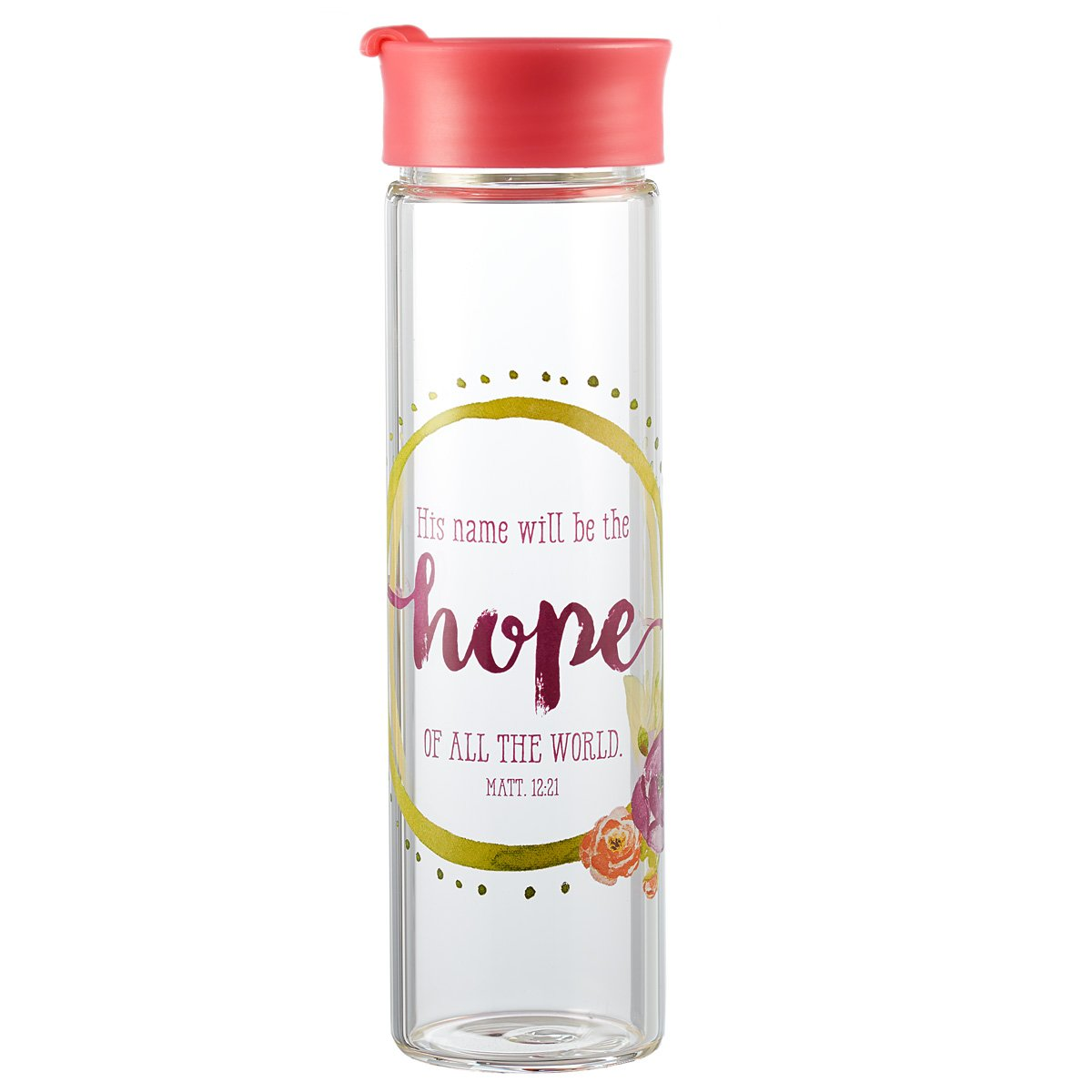 Watercolor Collection Tall Glass Drink / Water Bottle: ''His Name Will Be The Hope'' - Matthew 12:21 by Christian Art Gifts
