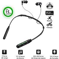 Audífonos Bluetooth, V5.0 In-Ear Auriculares Inalámbricos 15 horas de batería de Encendido y Apagado Automático Manos Libres Estéreo Micrófono Integrado Extra Compatibles con Apple, Samsung, Huawei, Sony,Moto (Negro)