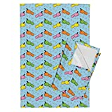 Roostery Game Tea Towels Hungry Hippos by Thickblackoutline Set of 2 Linen Cotton Tea Towels