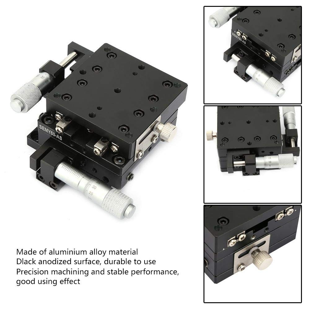 SEMY60-AS 60 60 40mm Slide Table Micrometer Manual Trimming Platform Cross Roller XY Linear Guide Sliding Track Linear Guides JF-XUAN XY Linear Stage