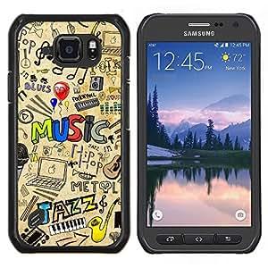 TECHCASE---Cubierta de la caja de protección para la piel dura ** Samsung Galaxy S6 Active G890A ** --PATRÓN DE JAZZ MÚSICA