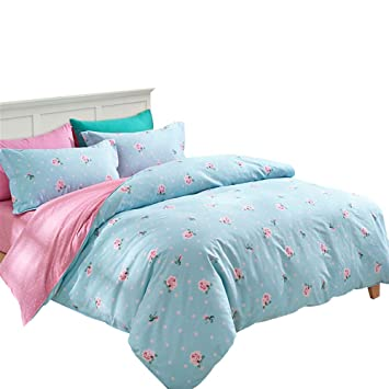 Fadfay Turquoise Pink Bedding Pink Pokal Dot Duvet Cover Set Full