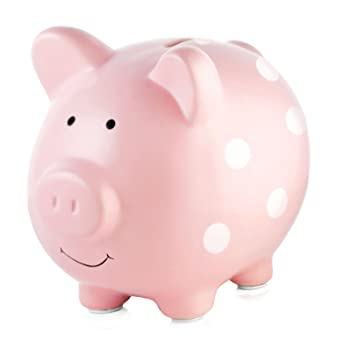 Pearhead Ceramic Pink Piggy Bank Makes A Perfect Unique Gift Nursery Decor Keepsake Or Savings