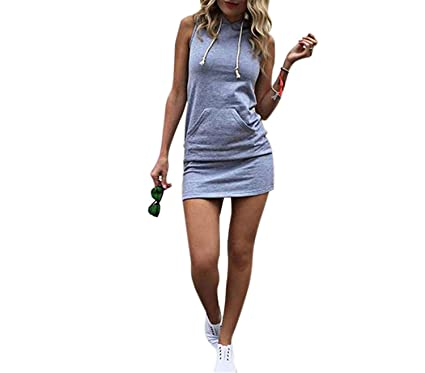 Women Summer Hooded Drawstring Dress Gray Sleeveless Straight Solid Color S~ XL Feminino Vestidos Girls