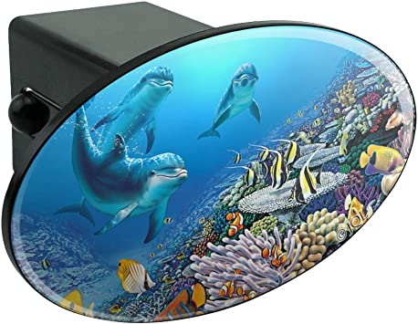 Graphics and More Ocean Underwater Dolphins Scuba Diving Reef Oval Tow Hitch Cover Trailer Plug Insert 2