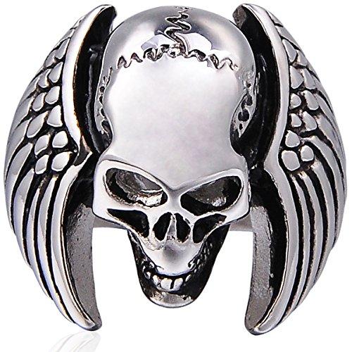 Mens Skull Wing Ring Stainless Steel Gothic Vintage Biker, Size (Mens Skull Wings)