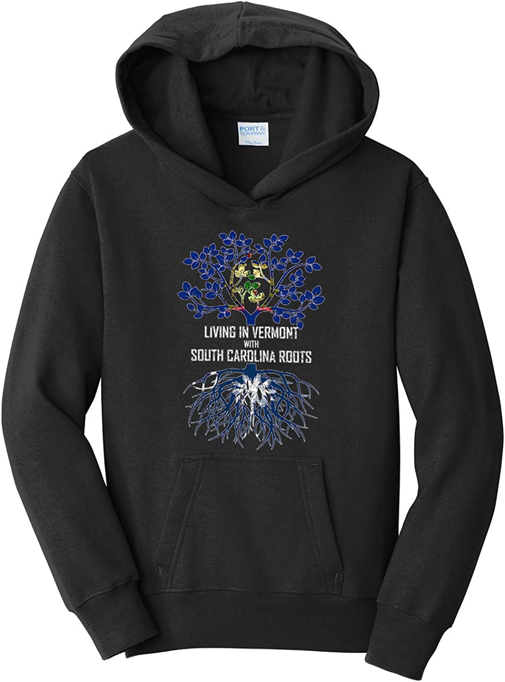 Tenacitee Girls Living in Vermont with South Carolina Roots Hooded Sweatshirt
