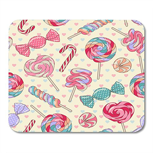 Le Mei Le Mouse pad Pink Party Yummy Colorful Sweet Lollipop Candy Cane with Hearts Yellow Red Christmas Mouse pad Mouse pad 9.5x7.9 inches Mouse pad - Red Heart Lollipops