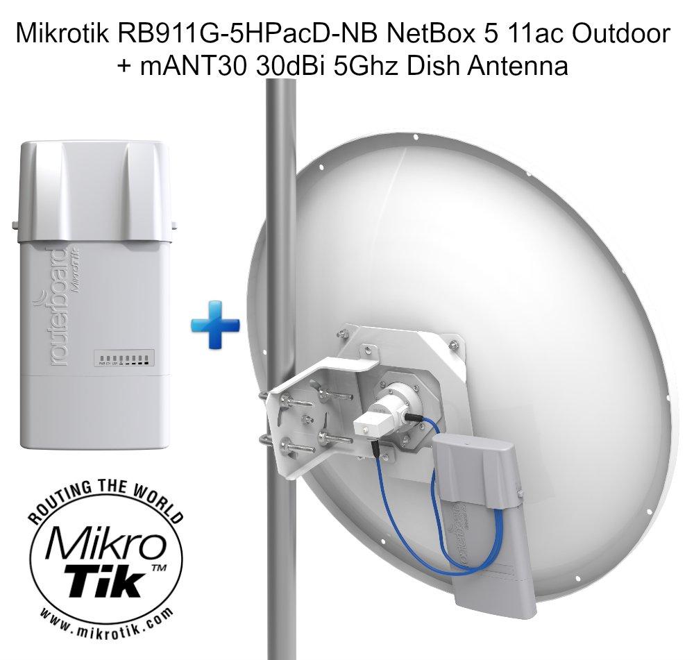 Mikrotik RB911G-5HPacD-NB NetBox 5 11ac Outdoor + mANT30 30dBi 5Ghz Dish Antenna