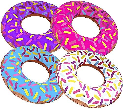 ArtCreativity 16 Inch Donut Inflates Set of 4 Colorful Inflatable Donuts in Assorted Designs Donut Birthday Party Decorations Supplies Durable Water Pool Toys for Kids Fun Donut Party Favors