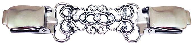 Silver Antiqued Swirls with Crystals Cardigan Clip - Amazon.com: Silver Antiqued Swirls With Crystals Cardigan Clip