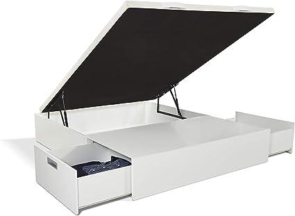 JPP Canapé abatible Gran Capacidad de almacenaje mas Dos cajones Color Blanco. Montaje Gratis. (135x180, Blanco)