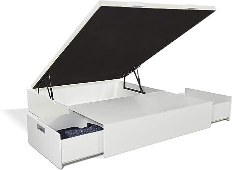 JPP Canapé abatible Gran Capacidad de almacenaje mas Dos cajones Color Blanco. Montaje Gratis. (150x190, Blanco)