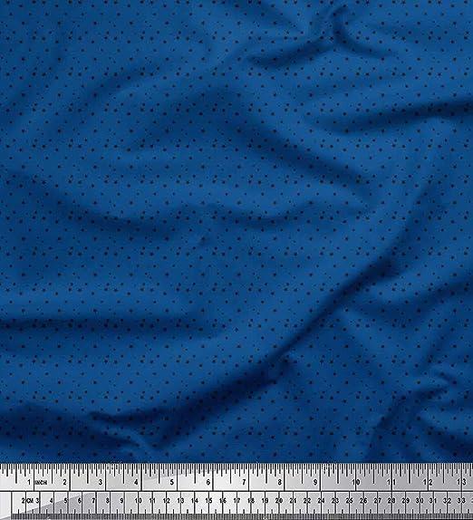 Soimoi Azul saten de seda Tela estrellas tela de camisa tela estampada de 1 metro 42 Pulgadas de ancho: Amazon.es: Hogar