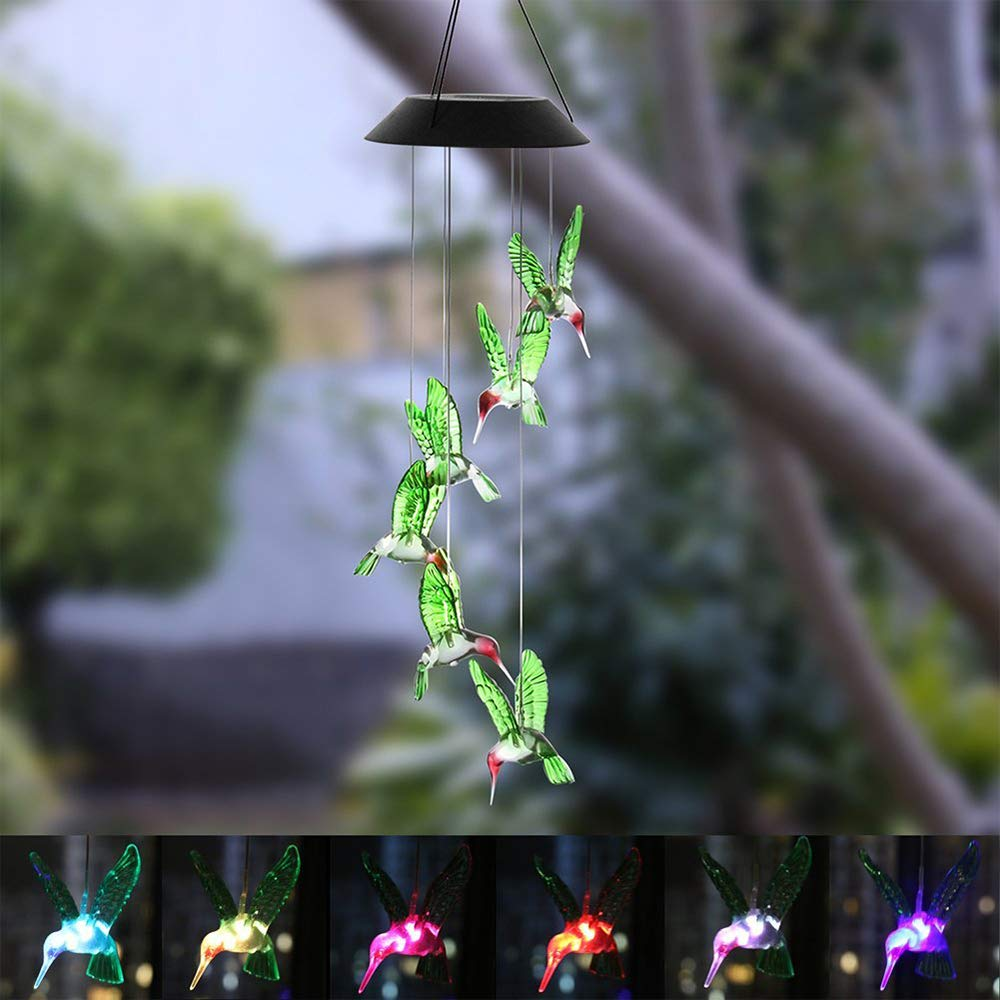 Solar Hummingbird Wind Chime Outdoor Indoor Colorful Decorative Mobile Hanging Wind Chime Personalized for Home Color Changing Led Solar Power Wind Chime Light Patio Window Porch Yad Garden