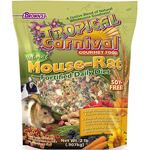 F.M. Brown'S Tropical Carnival Natural Pet Mouse And Rat Food, 2-Lb Bag - Vitamin-Nutrient Fortified Daily Diet, Soy-Free High Protein Blend With Shrimp, No Artificial Colors Or ()