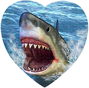 INTERESTPRINT Heart-Shaped Jigsaw Puzzle Game 7.48 x 7.48 Inch Funny Puzzles Gifts 75 Pieces Great White Shark Jumping Out of Water