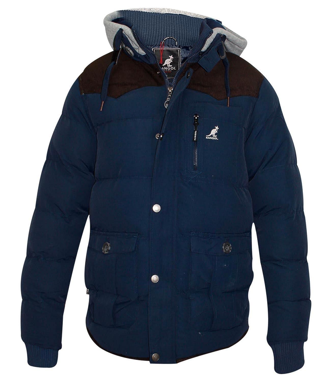 Mens Kangol Designer Jacket Thick Padded Lined Detachable Hood Winter Coat