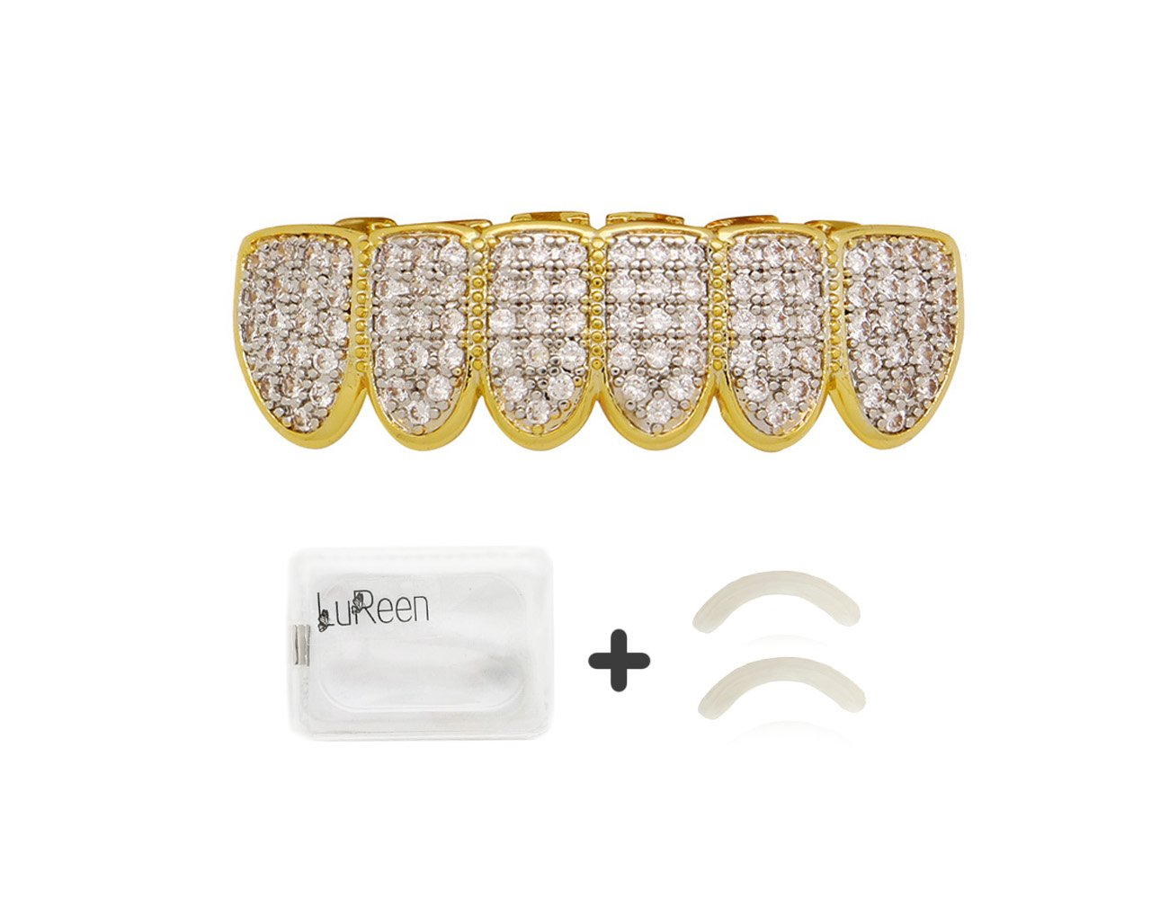 Lureen Gold Silver Twotone Iced Out CZ Vampire Fangs Grillz Set + 2 EXTRA Molding Bars (Bottom Grillz)