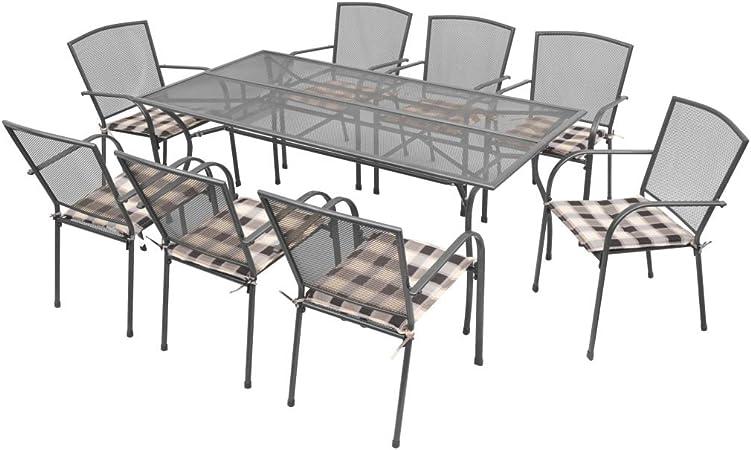 vidaXL Set Mesa Silla Jardín Cojines 17 Pz Malla Acero Mueble Mobiliario Patio: Amazon.es: Hogar