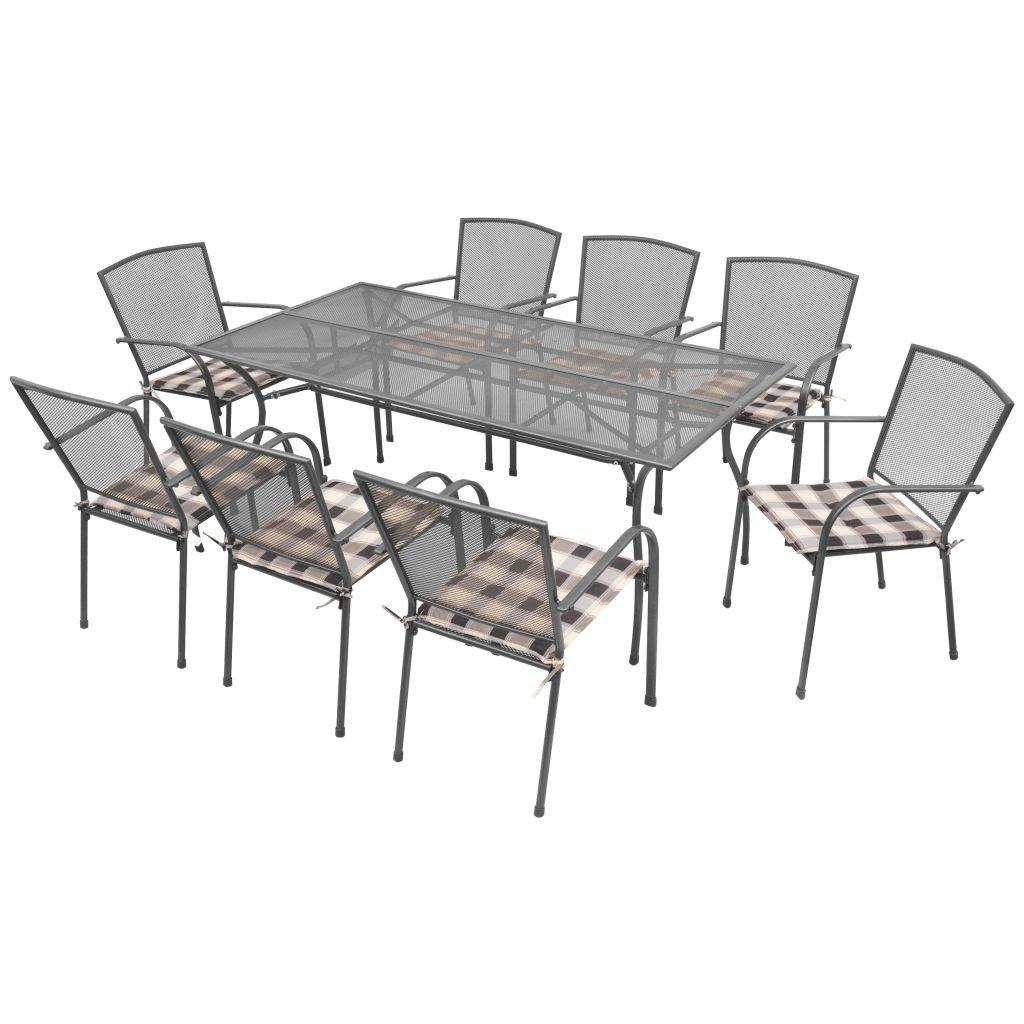 binzhoueushopping Gartenmöbel-Set mit Kissen, 17 Stück Stahlnetz, Essgruppe