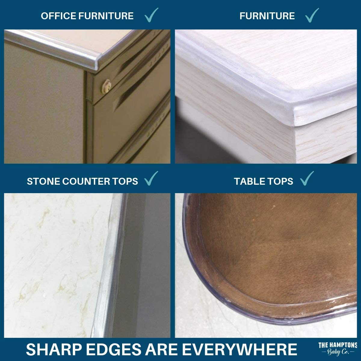 Clear Edge Protectors by The Hamptons Baby - 9-1ft Pieces with Premium Gel Adhesive - Guard Against Injuries on Sharp Edges in Your House, Use on Coffee & Dining Tables, Dressers, Desks and Much More by The Hamptons Baby (Image #8)