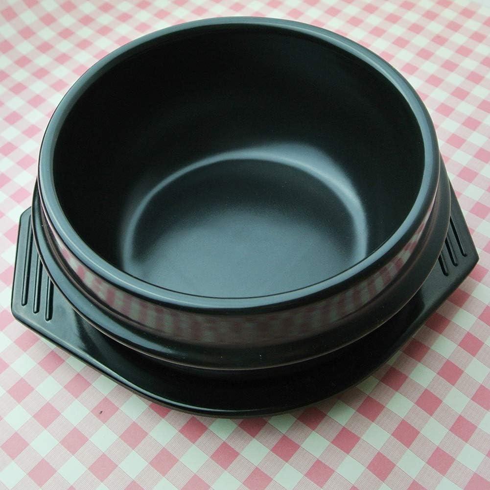 CCSU Korean Dolsot Stone Bowl with Tray,Ceramic Sizzling Hot Pot for Bibimbap Soup Jjiage Korean Food Black 2.1quart