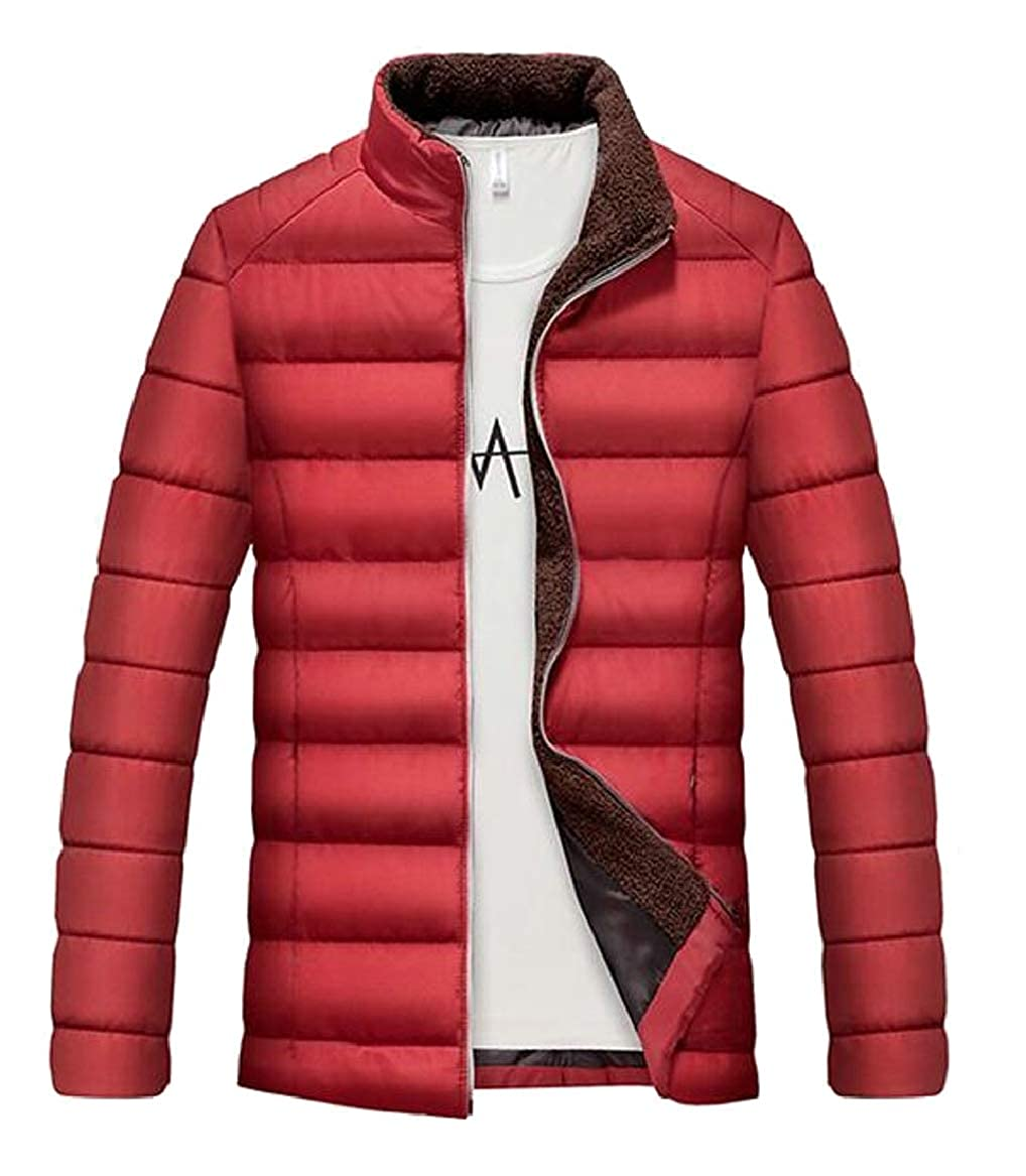 Red RGCA Men's Winter Solid Stand Neck Thicken Warm Padded Down Jacket Coat