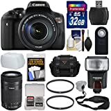 Canon EOS Rebel T6i Wi-Fi Digital SLR Camera & EF-S 18-135mm IS & 55-250mm IS STM Lens with 32GB Card + Case + Strap + Filters + Flash + Kit