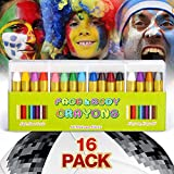 JamBer Crayons Face Painting Makeup Sticks Clown Makeup Non-Toxic Halloween Kids/ Child Christmas Gift Dress up for Baby by (16pack)
