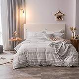Merryfeel Seersucker Duvet Cover Set,100% Cotton Seersucker with Stitches Stripe Duvet Cover Set - Full/Queen