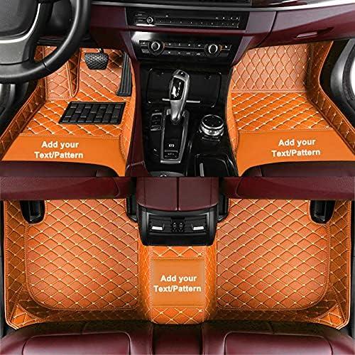 Car Floor Mat Custom Front Rear Full Covered Carpet Diamond PU Leather All Weather Protection for SUV Sedan Truck Van Floor Liner Personalized Orange