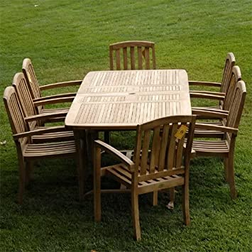 teak outdoor dining table set new grade rectangle double garden and chairs room sets