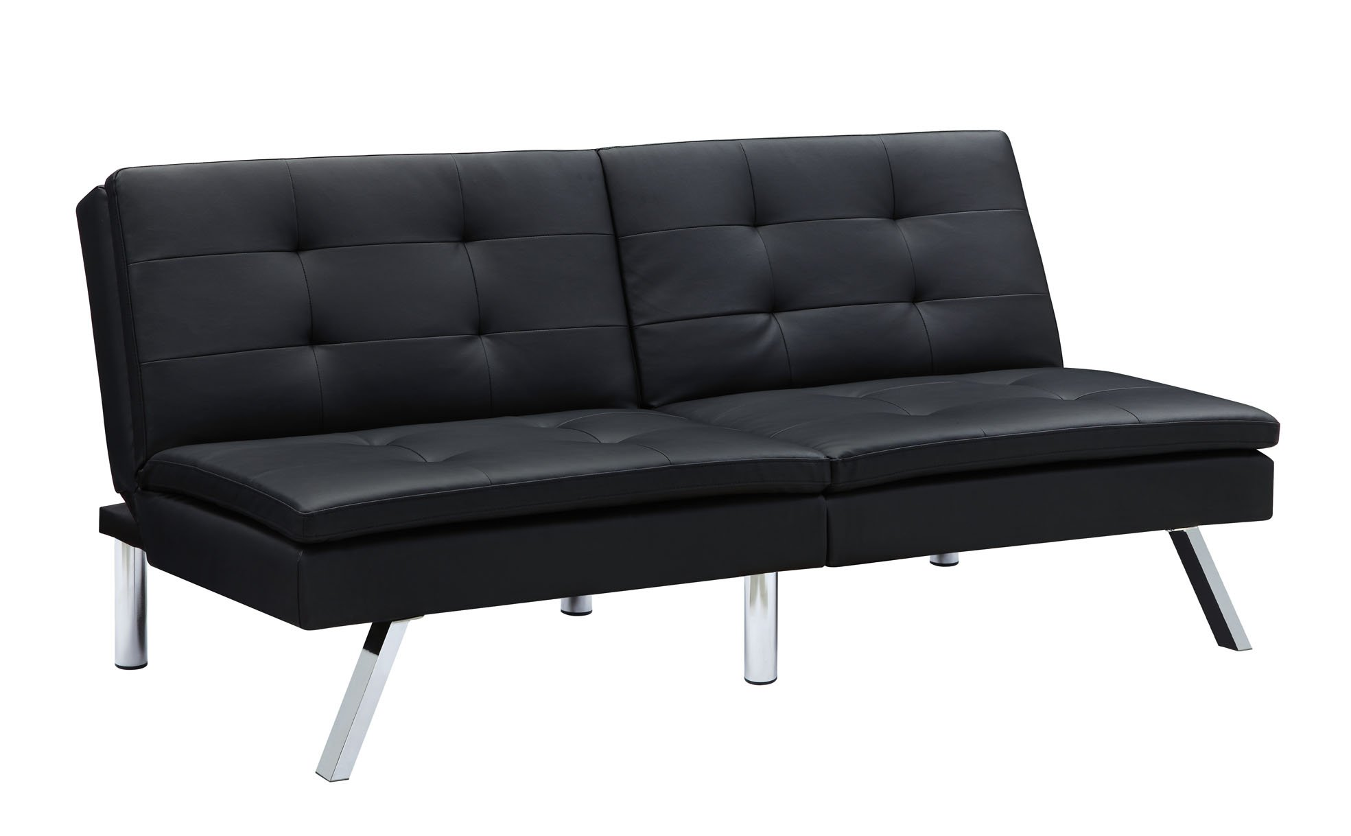 Medium image of dhp chelsea convertible futon with chrome legs multi position back black