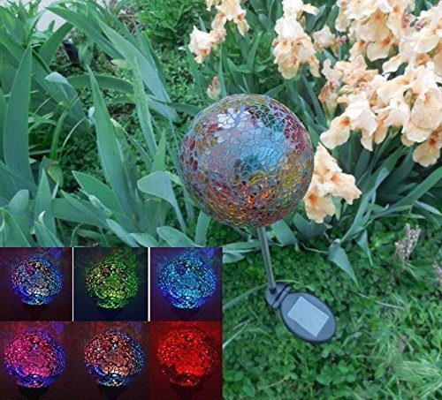 Solar Colorful Ball Globe Light (#Black05R), Solar Power Multi Color Color  Changing LED Mosaic Crackle Glass Decorative Garden Yard Light Stake
