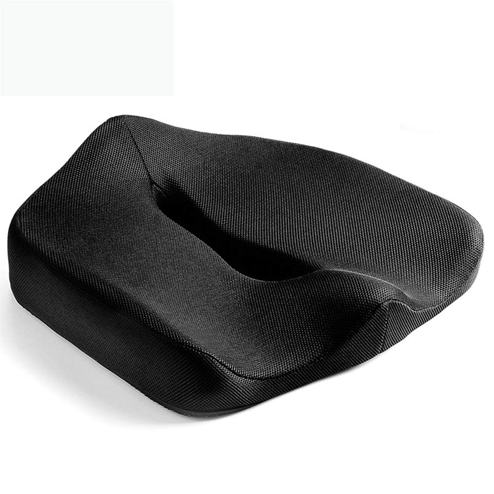 Black Breathable Car Cushion Memory Foam Seat Mat Office Chair Orthopedic Cushion for Relieves Back Sciatica Pain