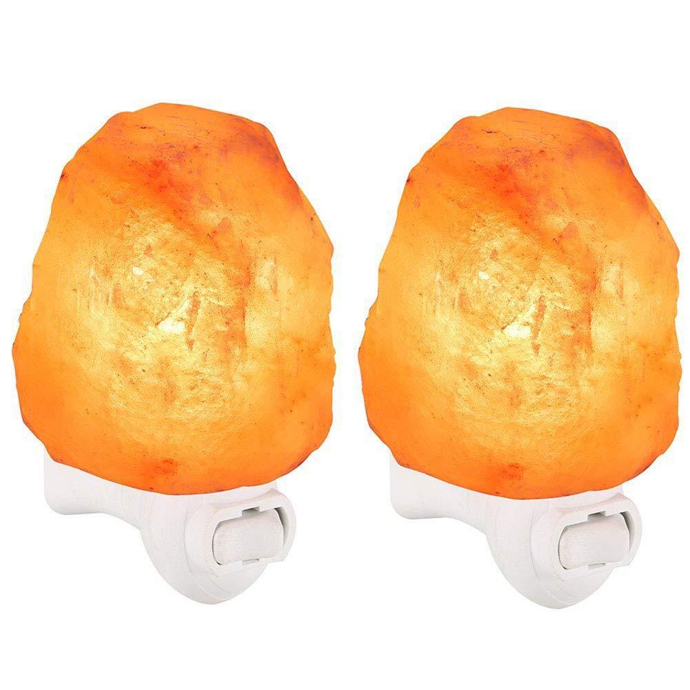 CSDM.AI 2 Pack Wandlampe, Himalaya Salt Rock Lamp Plug In Night Light Air Purifier Switchable Natural Crystal Light,Europeanplug