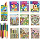 Moda West 9 Pack Adult Coloring Books for Relaxation and Therapy with Bonus 12 Colored Pencils - Fun Bulk Assortment