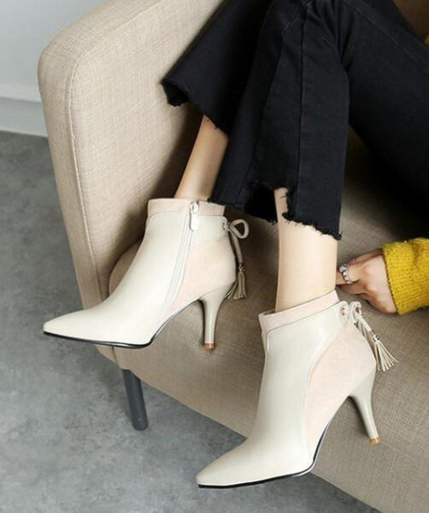 Easemax Damen Schleife Elegant Spitze Zehe Kurzschaft Schleife Damen Stilettos Ankle Stiefel Pumps d1cde0
