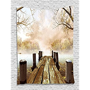 Fall Wooden Dock Bridge Pier Enchanted Nature Fairy Tale Mystic Design Autumn Season Printed Art Tapestry Wall Hanging Living Room Bedroom Dorm Decor, Beige Brown Taupe