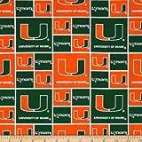 "Sykel Enterprises""""Collegiate Cotton Broadcloth University of Miami, Multi"