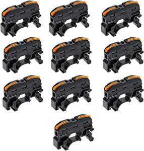 Acxico 10Pcs PCT-211 Din Rail Universal Compact Wire Wiring Connector Quick Connection Terminal Block Press Type Connector Black