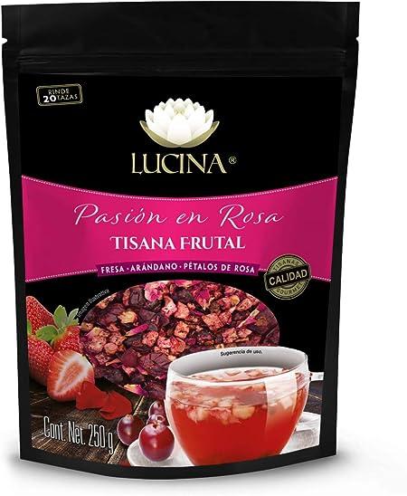 Lucina Tisanas Pasión en Rosa, Sabor Arándano, Fresa y Pétalos de Rosa, 250 g: Amazon.com.mx